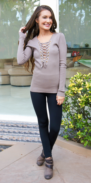 Plunge Lace Up V Neck Ribbed Knit Top