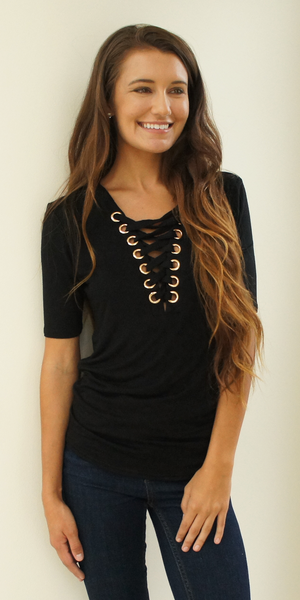 Black Fitted Lace Up Top