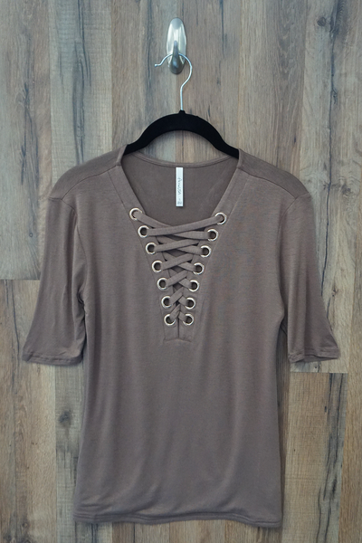 Fitted Lace Up Top