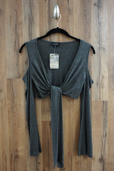 Grey Cold Shoulder Ballet Wrap Top