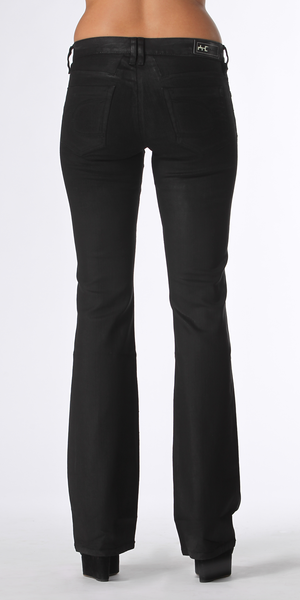Black Stretch Coated Bootcut Jeans