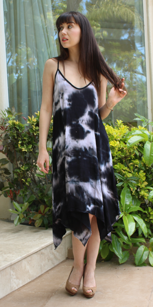 Black Tie Dye Asymmetrical Sundress