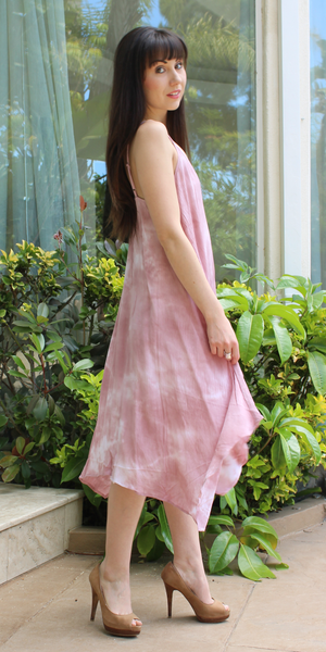 Pink Tie Dye Asymmetrical Sundress
