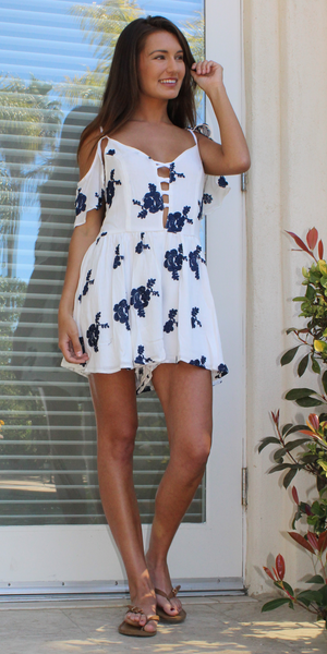White floral embroidered romper shorts