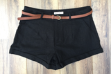 Belted Black Linen Girlfriend Shorts