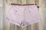 Belted Pink Linen Girlfriend Shorts