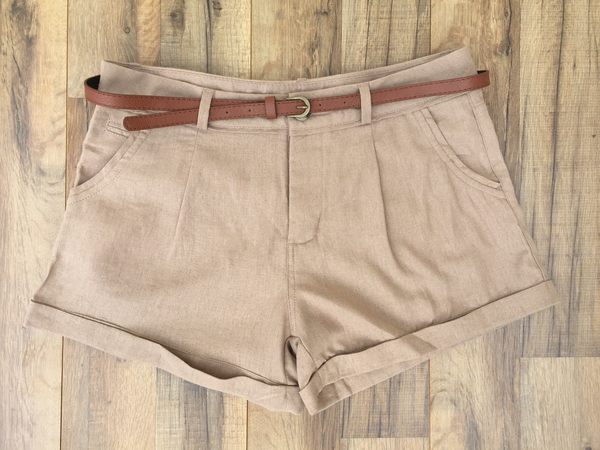 Khaki Belted Linen Girlfriend Shorts