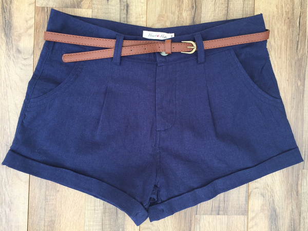 Navy Blue Belted Linen Girlfriend Shorts