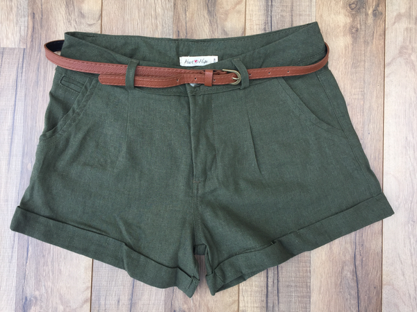 Belted Green Linen Girlfriend Shorts
