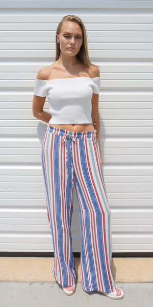 Multi Color Striped Wide Leg Casual Pants