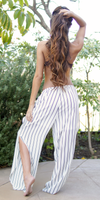 Sheer White And Black Striped Pants