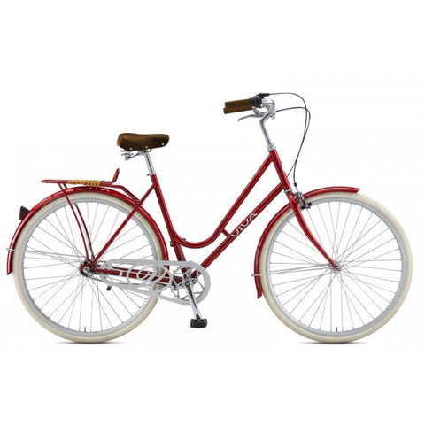 Viva Dolce Classic R.47 3 Speed Step-Through City Cruiser Bicycle, Red - Buy Online