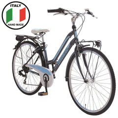 Lombardo Siena 100L Women'S Step-Through Commuting Bike, 99% Assembled, Anthracite/Blue
