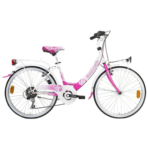 "Lombardo Rimini 24"" Women'S Step-Through City Bike, 99% Assembled, White/Pink - Buy Online"
