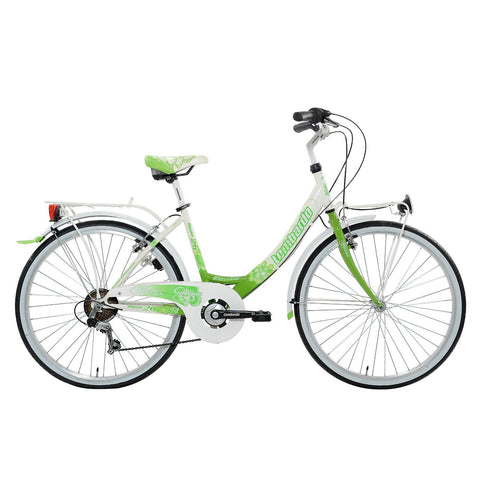 "Lombardo Rimini 26"" Women'S Step-Through City Bike, 99% Assembled, White/Green - Buy Online"