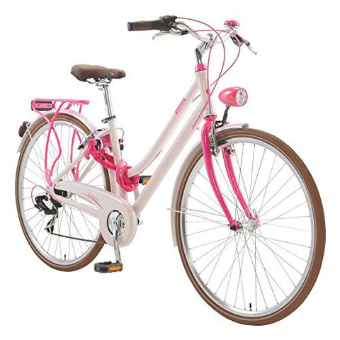 Lombardo Sirmione L Step-Through City Bicycle, 99% Assembled, Pink/Fuschia - Buy Online