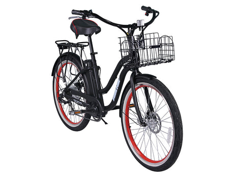 X-Treme Malibu Beach Cruiser Electric Bike - Compact Lithium Powered w/ Basket - Buy Online