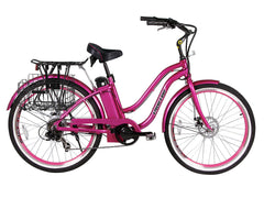 X-Treme Malibu Elite Lithium Powered Beach Cruiser Electric Bike, Pink/Black