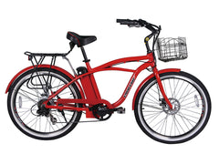 X-Treme Newport Eilte Beach Cruiser Electric Bike - Super-lightweight Compact Lithium Powered w/ Basket