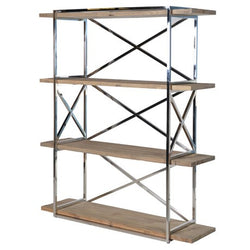 Wood & Chrome Bookcase Shelving Unit