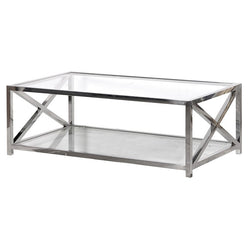 Glass & Chrome X End Coffee Table