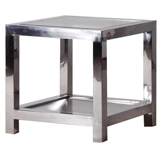 Metal & Glass Square Side Table