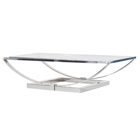 Glass & Chrome Curved Coffee Table