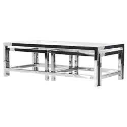 Chrome & Glass Set of 3 Coffee Tables