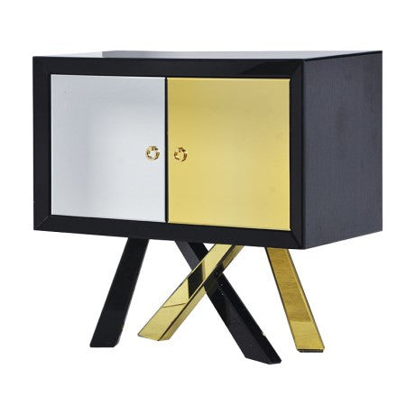 Theron Black/Gold Mirrored Chest