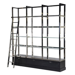 Rickman Black/Chrome Library Shelves Unit with Ladder