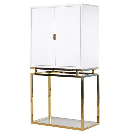 Theron White/Gold Drinks Cabinet