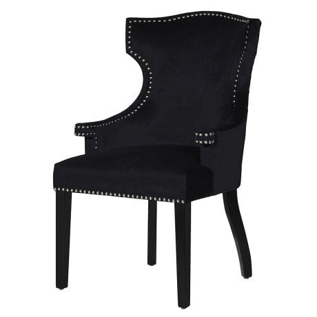Winged Black Studded Dining Chair