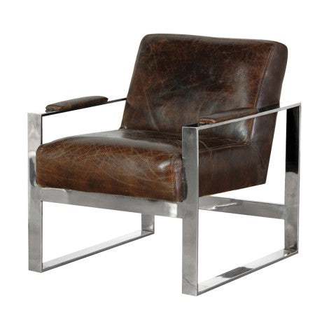 Italian Leather Steel Armchair