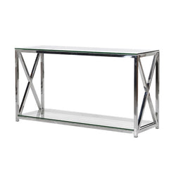 Glass & Chrome X End Console Table