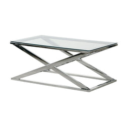 Terano X-frame Coffee Table Metal Glass
