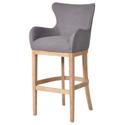 Grey Silver Buttoned Bar Stool