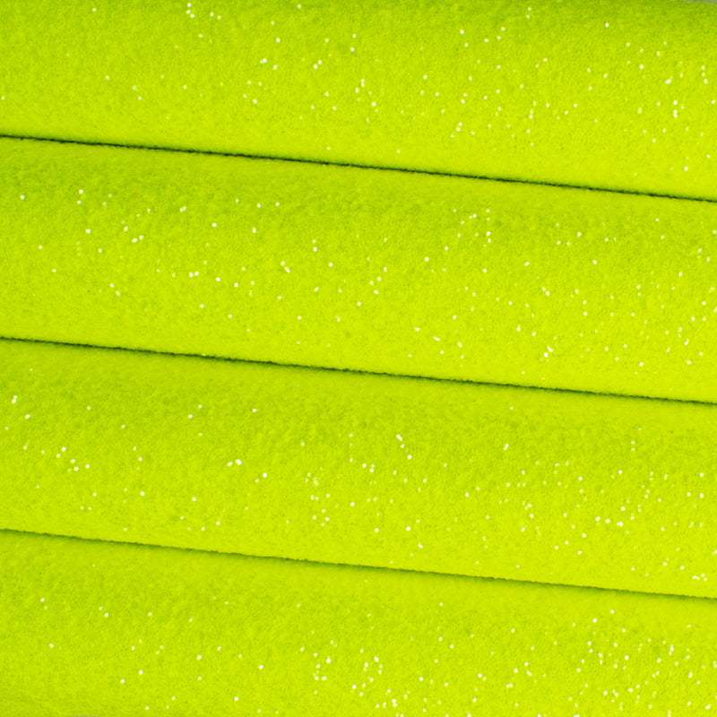 Neon Yellow Sugar Frosted Chunky Glitter Fabric