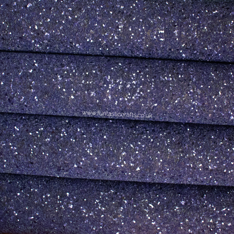 Frosted Navy Blue Chunky Glitter Fabric