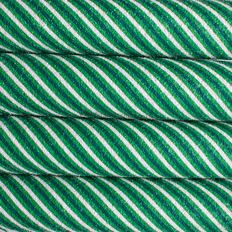 Green Candy Stripe - Christmas Chunky Glitter Fabric