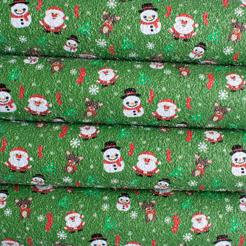 Green Santa - Christmas Chunky Glitter Fabric