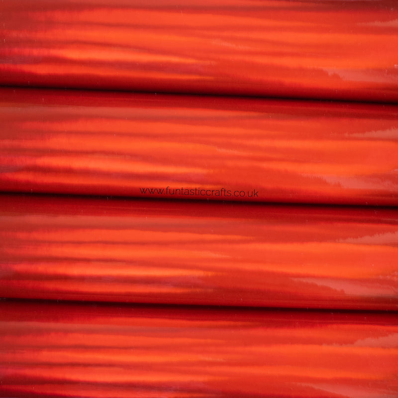 Holographic Mirrored Leatherette Fabric - Red