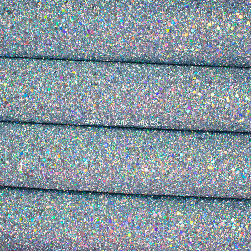 Holographic Silver Chunky Glitter Fabric