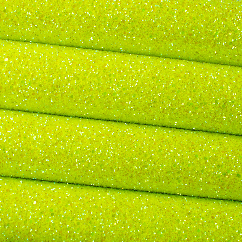 Neon Yellow Iridescent Frosted Chunky Glitter Fabric