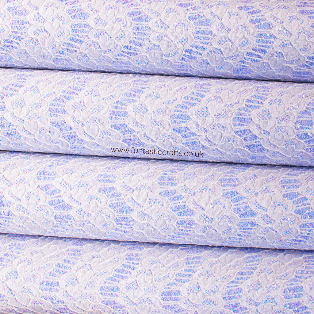 Iridescent Pastel Glitter Lace Fabric - Lavender