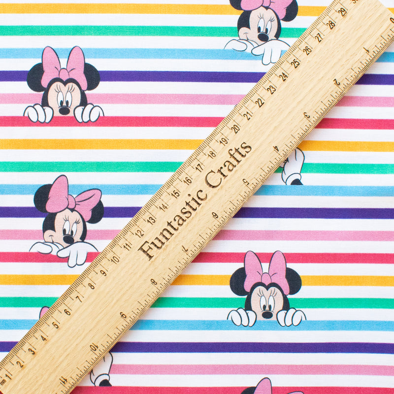 Disney Minnie Mouse Rainbow Stripes 100% Cotton Fabric