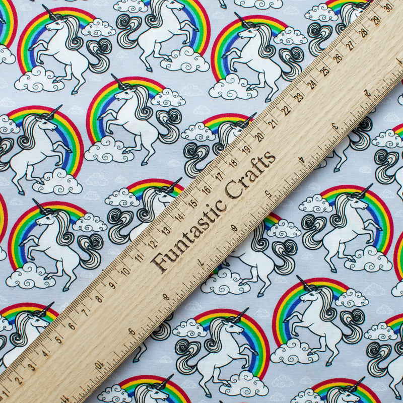 Silver Unicorn Over the Rainbow - 100% Cotton Fabric by Rose and Hubble