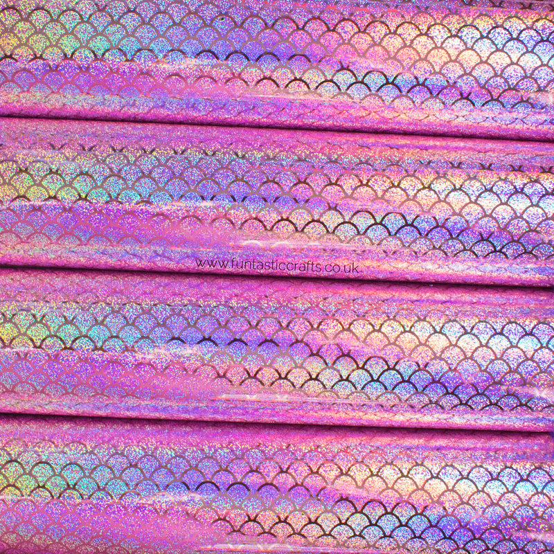 Holographic Mermaid Scales Leatherette Fabric - Pale Rose