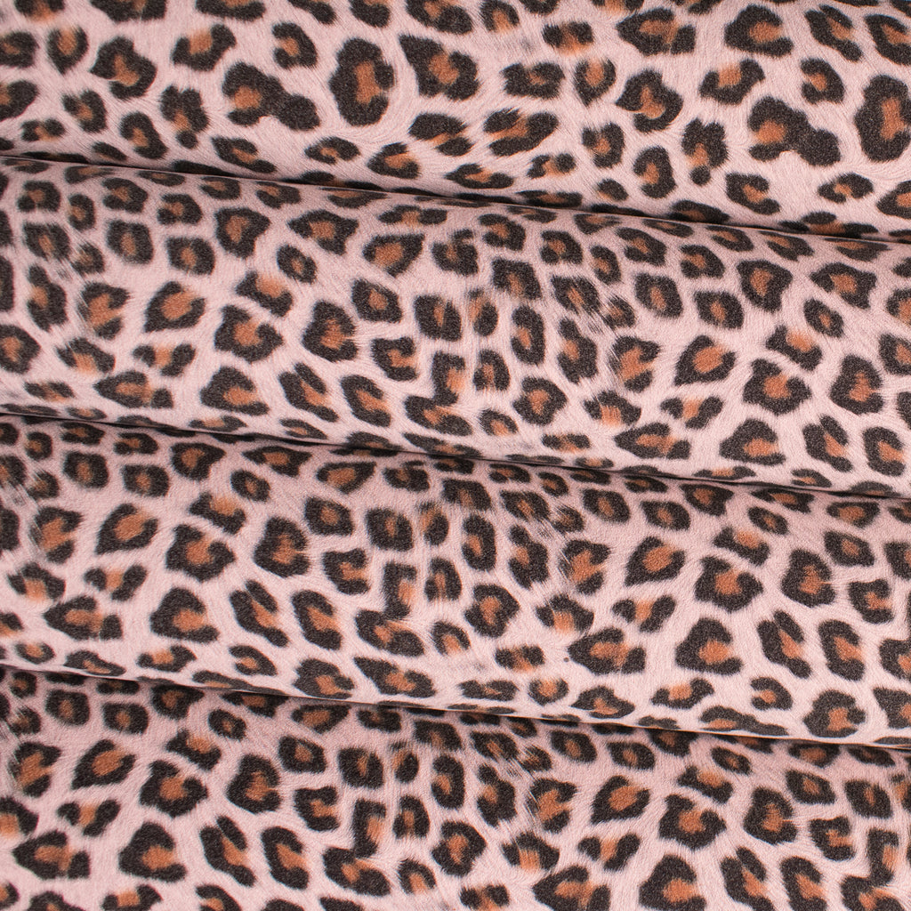 Leopard Print Faux Suede Fabric - Baby Pink