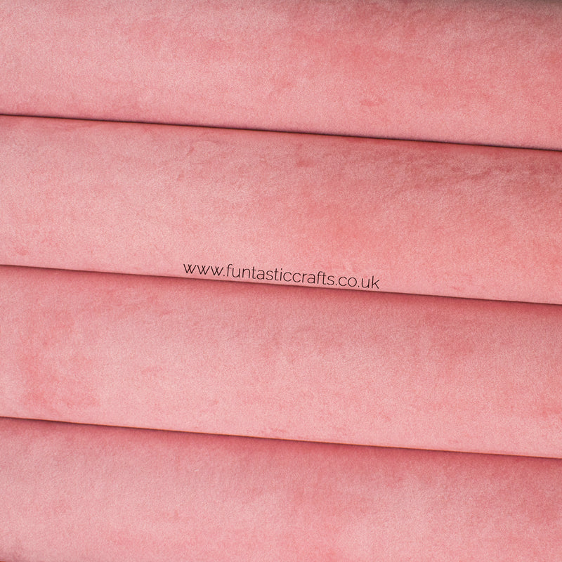 Pink Velvet Faux Leather Fabric