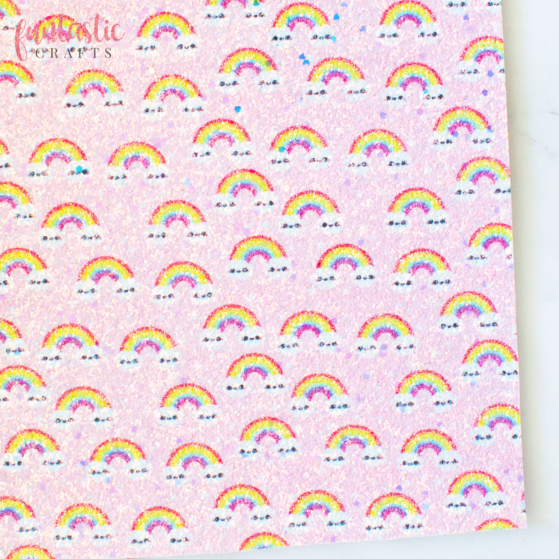 Pink Over the Rainbow Chunky Glitter Fabric